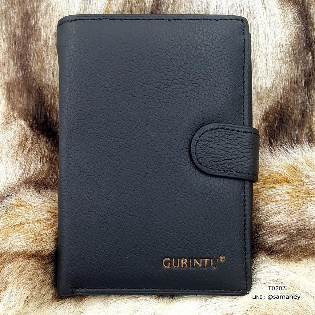 กระเป๋าสตางค์ผู้ชาย หนังแท้ ทรงตั้ง รุ่น GUBINTU Button - สีดำ
