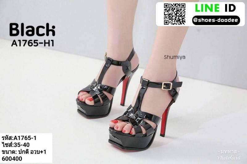 รองเท้าส้นสูง สไตล์ YSL A1765-1-BLK [สีดำ]