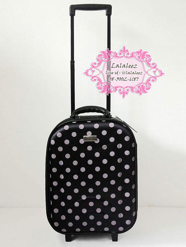 กระเป๋าเดินทางแบบผ้า 16 นิ้ว สีดำลายจุด