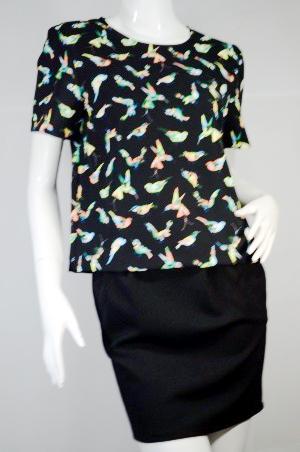 JASPAL เสื้อเบล้าซ์ สีดำลายนก ผ้ายืด