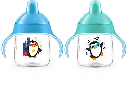 Philips Avent My Penguin Sippy Cup 9oz, Stage 2 Blue / Green (6 months+) แพคคู่สุดคุ้ม