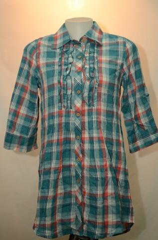 B+BASIC เสื้อเชิ๊ตแขน 3 ส่วน ลายสก๊อต