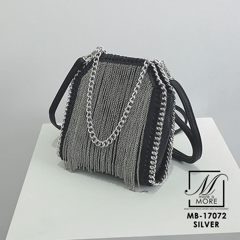กระเป๋าสะพายกระเป๋าถือ แฟชั่นนำเข้าดีไซน์สุดเก๋ส์สไตล์แบรนด์ดัง MB-17072-SIL (สีเงิน)