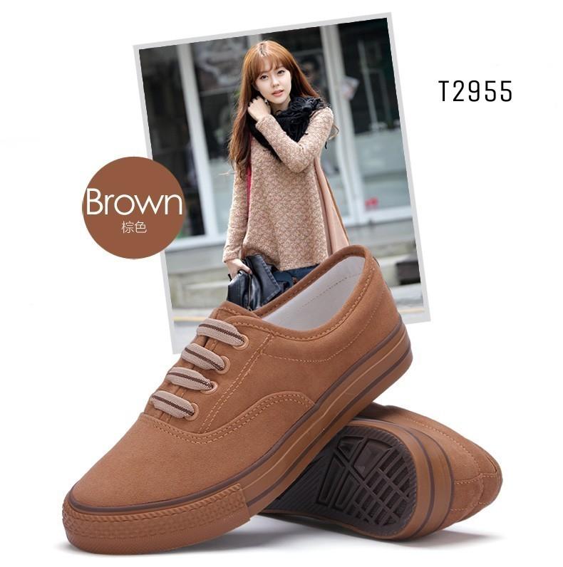 พร้อมส่ง รองเท้าผ้าใบแฟชั่นสีน้ำตาล แบบเชือก แฟชั่นเกาหลี แฟชั่นเกาหลี [สีน้ำตาล ]