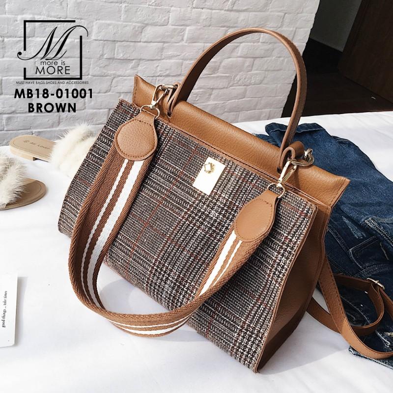 กระเป๋าสะพายกระเป๋าถือ แฟชั่นนำเข้าทรงยอดฮิตแบบแบรนด์ดัง MB18-01001-BRO (สีน้ำตาล)