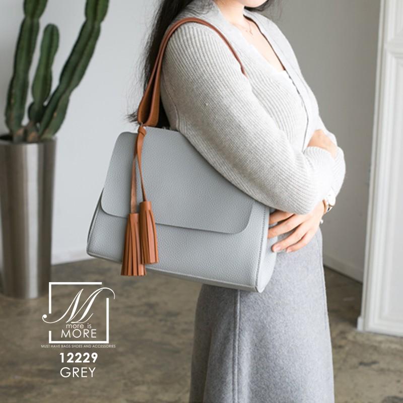 กระเป๋าสะพายกระเป๋าถือ แฟชั่นนำเข้าดีไซน์เรียบหรู 12229-GRY (สีเทา)