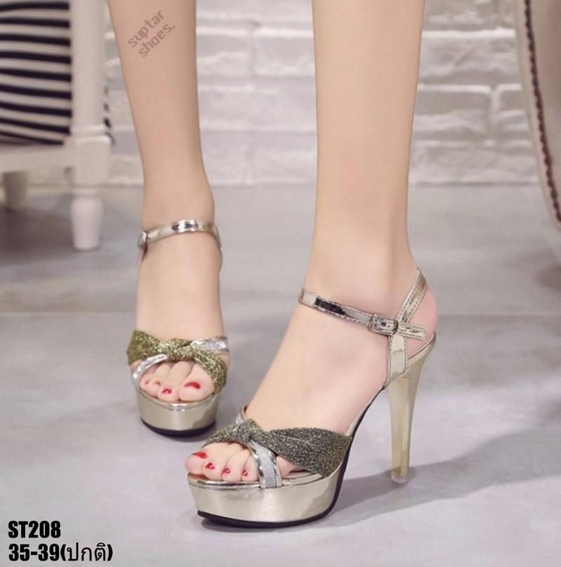 รองเท้าส้นสูงรัดข้อเปิดท้ายสีทอง LB-ST208-GLD