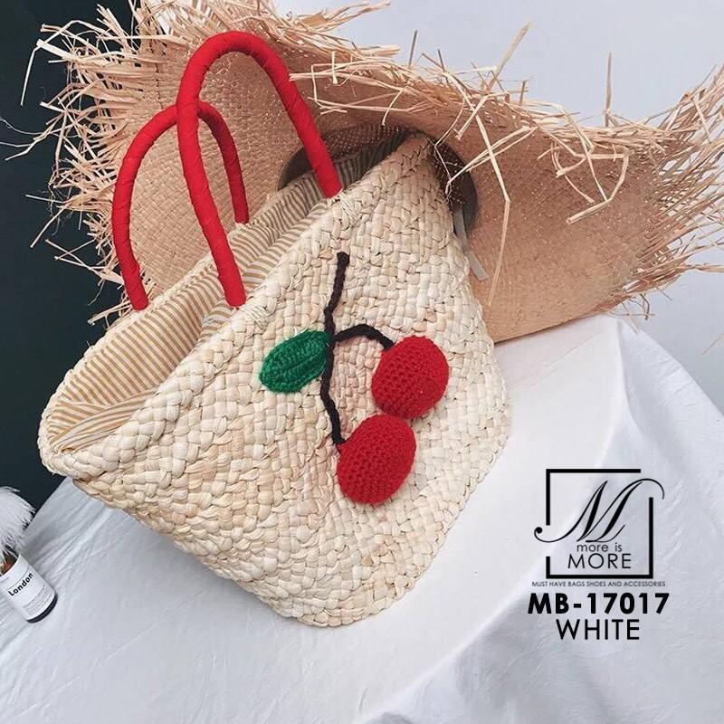 กระเป๋าถือกระเป๋าสาน สานงาน handmade สไตล์เกาหลี MB-17017-WHT (สีขาว)