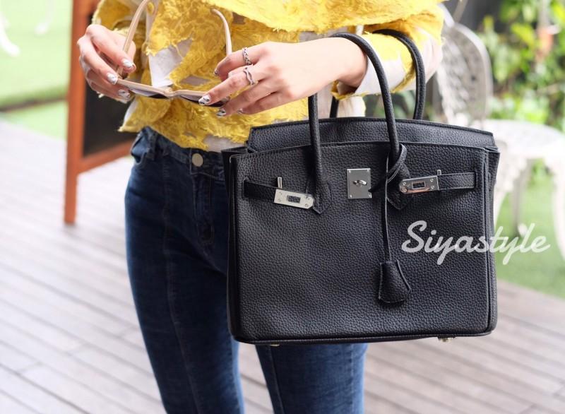 กระเป๋าสะพายแฟชั่น กระเป๋าสะพายข้างผู้หญิง Birkin PU 30 cm [สีดำ]