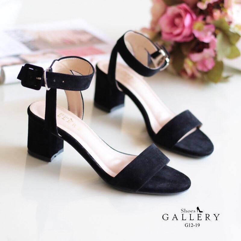 พร้อมส่ง รองเท้าส้นตัน สไตล์รัดส้น G12-19B3-BLK [สีดำ]