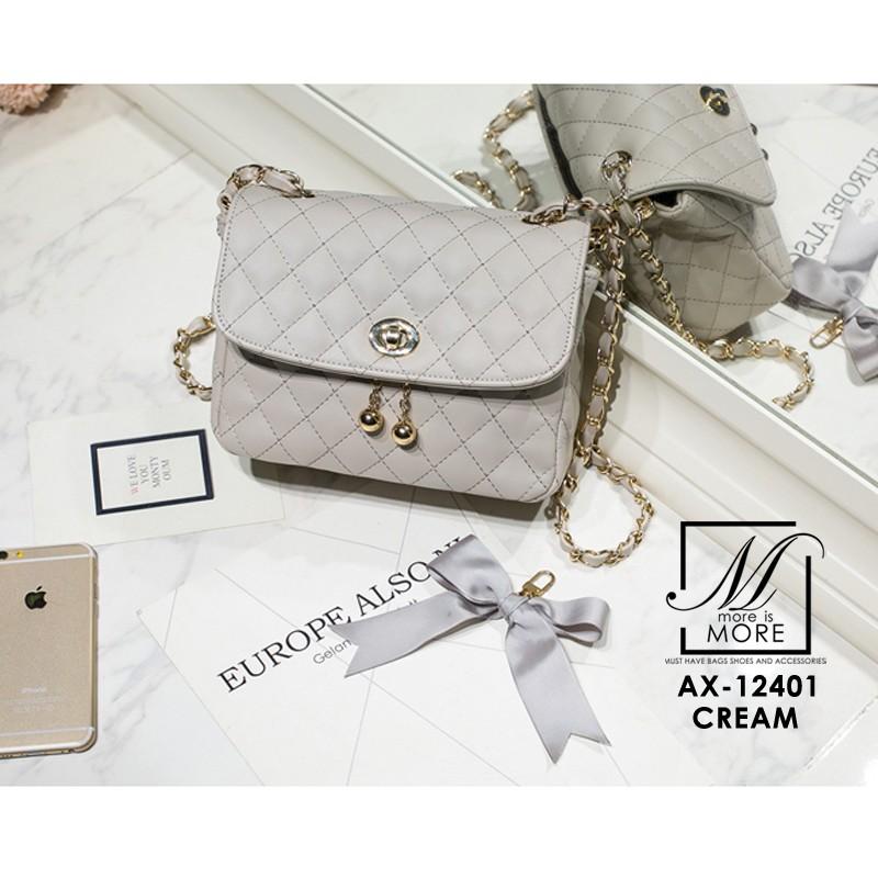 กระเป๋าสะพายกระเป๋าถือ แฟชั่นนำเข้าสไตล์เกาหลี AX-12401-CRM [สีครีม]