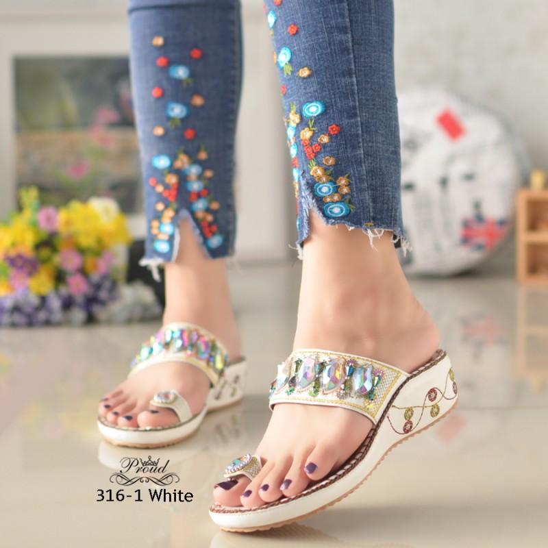 รองเท้าแตะคีบโป้งโบฮีเมียนสีขาว สวยล้ำ 316-1-ขาว