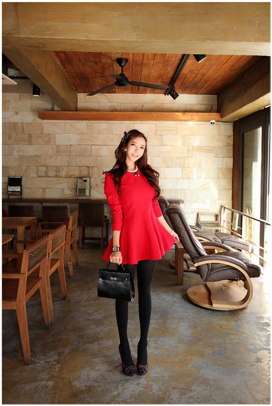 ชุดเดรสทำงานแฟชั่นเกาหลีสีแดงแขนยาว