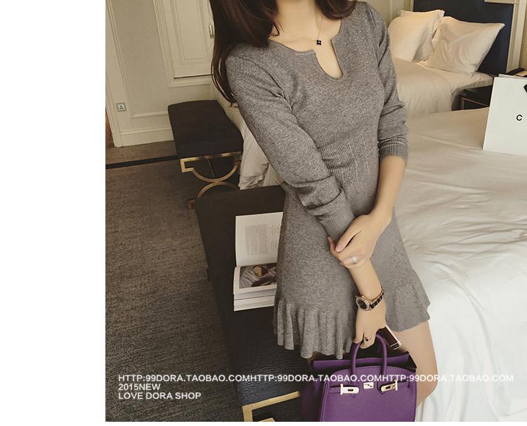 ชุดเดรสแฟชั่นเกาหลีสีเทารัดรูปแขนยาวเซ็กซี่สุดๆราคาถูก