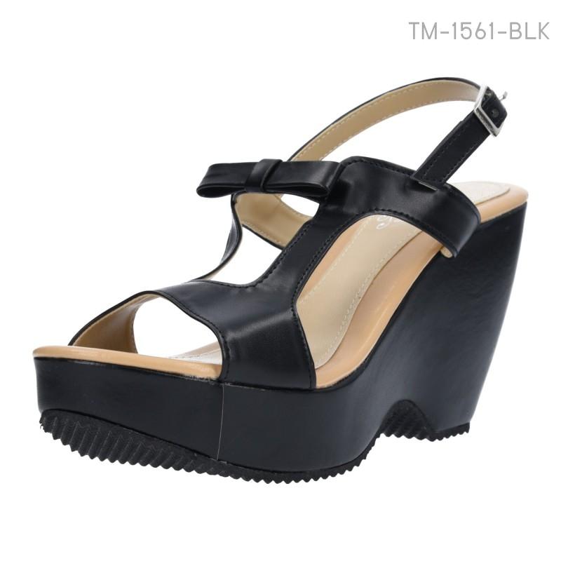 รองเท้าส้นเตารีดรัดส้น แต่งโบว์ (สีดำ )