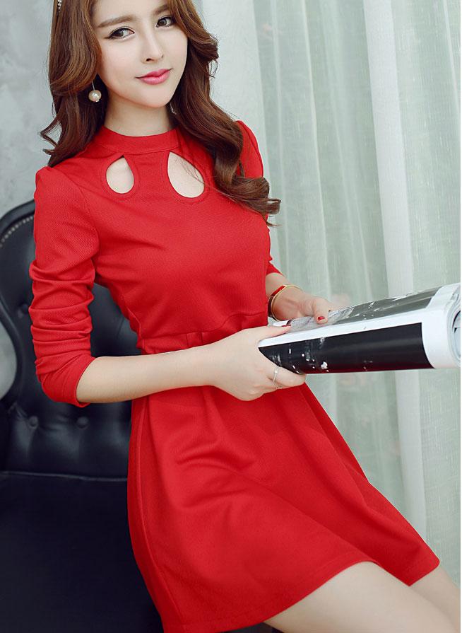 ชุดเดรสแฟชั่นเกาหลีสีแดง