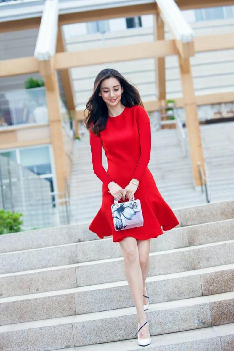 ชุดเดรสทำงานแฟชั่นเกาหลีสีแดงคอกลมแขนยาว