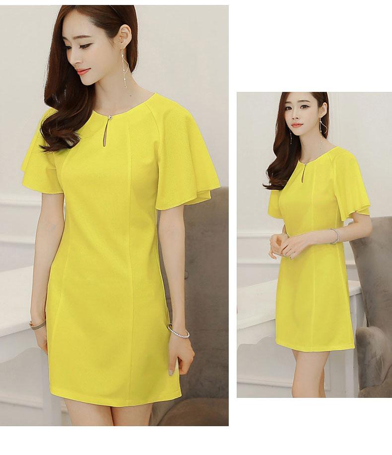 ชุดเดรสทำงานแฟชั่นเกาหลีผ้าโพลีเอสเตอร์สีเหลือง