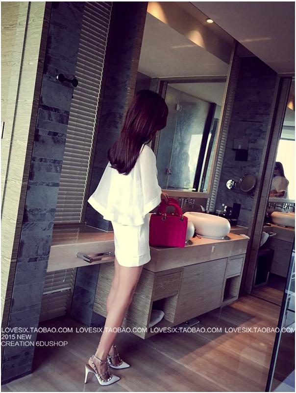 รับตัวแทนจำหน่ายชุดเดรสแฟชั่นเกาหลีสีขาวแขนสั้นไฮโซ