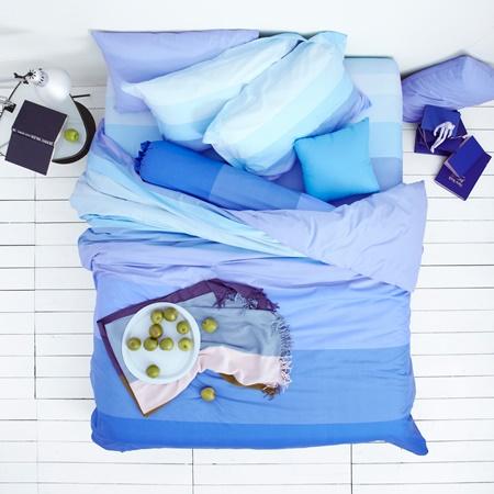 ชุดเครื่องนอนLotus ผ้าปูที่นอนLotus โลตัสสีพื้น-เเถบสีฟ้า รุ่น LI-SD-07B