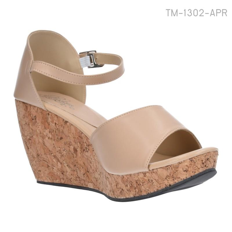 รองเท้าส้นเตารีด รัดส้น พื้นลายไม้ (สีแอปปริคอท )