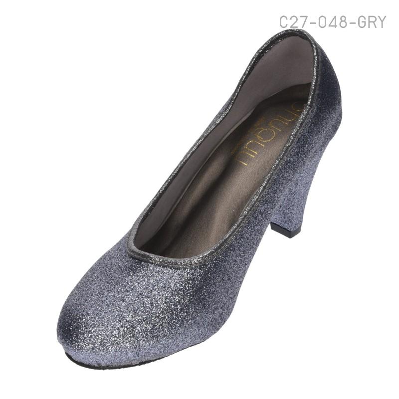 รองเท้าคัทชูหัวกลม แต่งกลิตเตอร์ (สีเทา )
