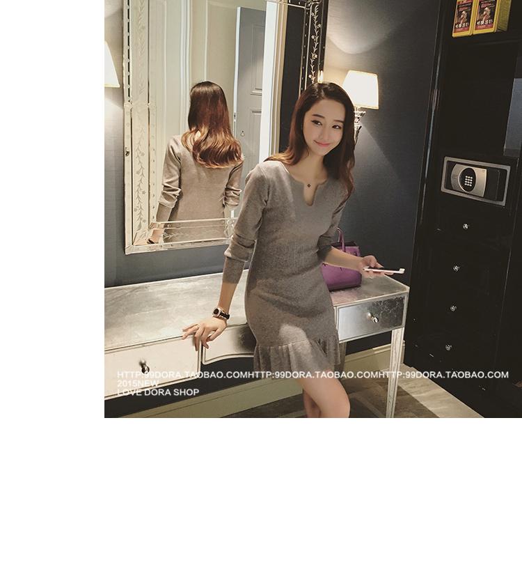 ชุดเดรสแฟชั่นเกาหลีสีเทารัดรูปแขนยาวเซ็กซี่สุดๆ