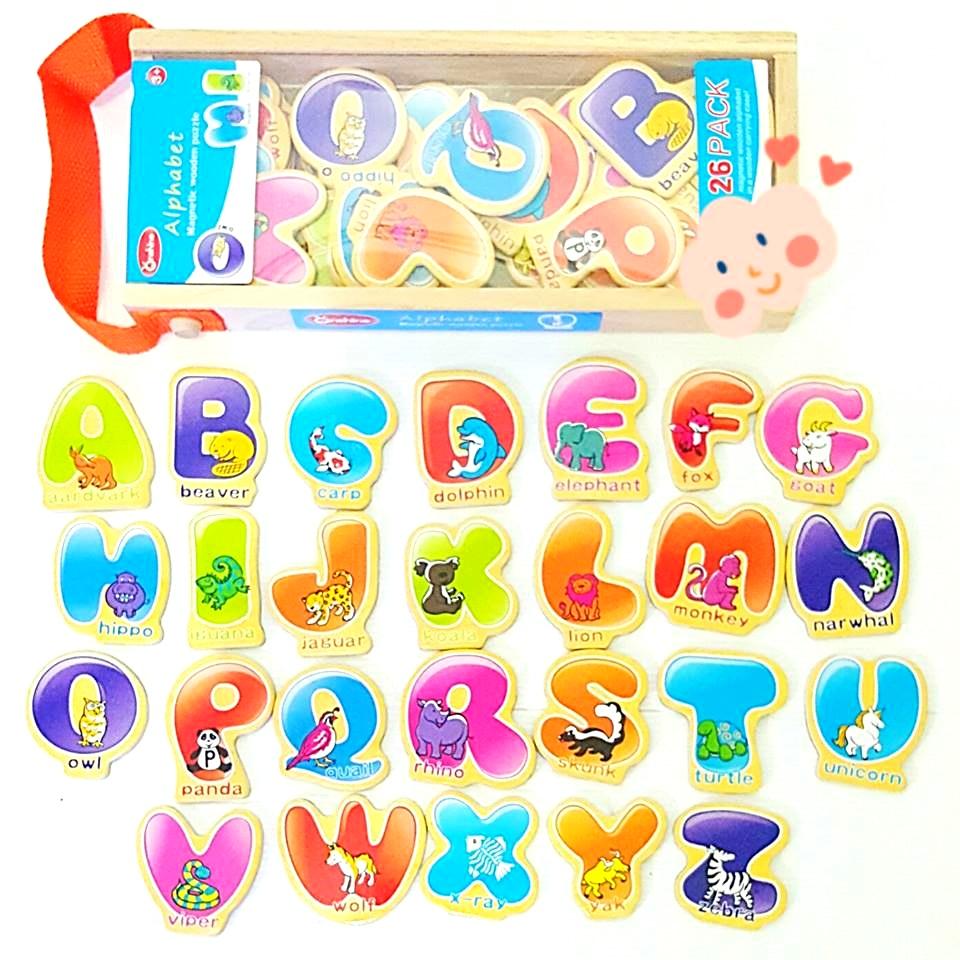 เเมกเนทตัวอักษร ABC พร้อมคำศัพท์ 26 คำในกล่องไม้เก็บอุปกรณ์