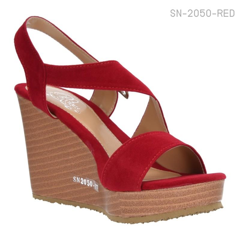รองเท้าส้นเตารีดแบบรัดส้น หนังนิ่มบุกำมะหยี่ (สีแดง )