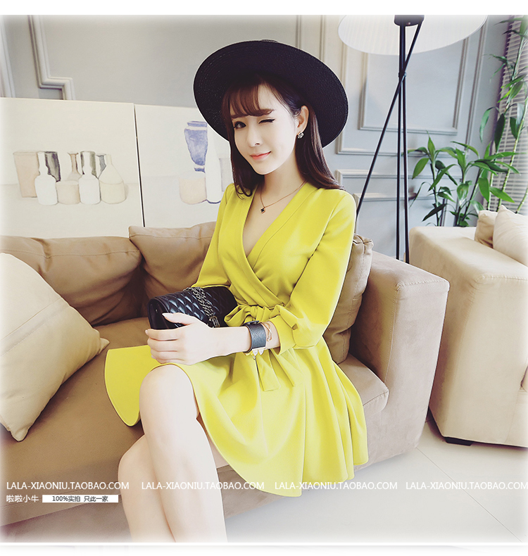 ชุดเดรสทำงานแฟชั่นเกาหลีสีเหลืองกระโปรงบานแขนสี่ส่วนมีเชือกผูกเอวราคาถูก