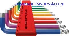 PB Swiss Tool พีบีสวิสทูล รุ่น PB212-H-10-RB ประแจหกเหลี่ยมหัวบอลแบบสั้น สีรุ้ง rainbow colors ball point hex key L-wrenches sets for hexagon socket screws