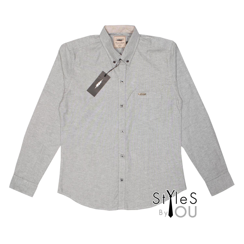 เสื้อเชิ้ต แฟชั่น สีพื้น สีเทาท๊อปดราย Pastel Shirt แขนสั้นและแขนยาว