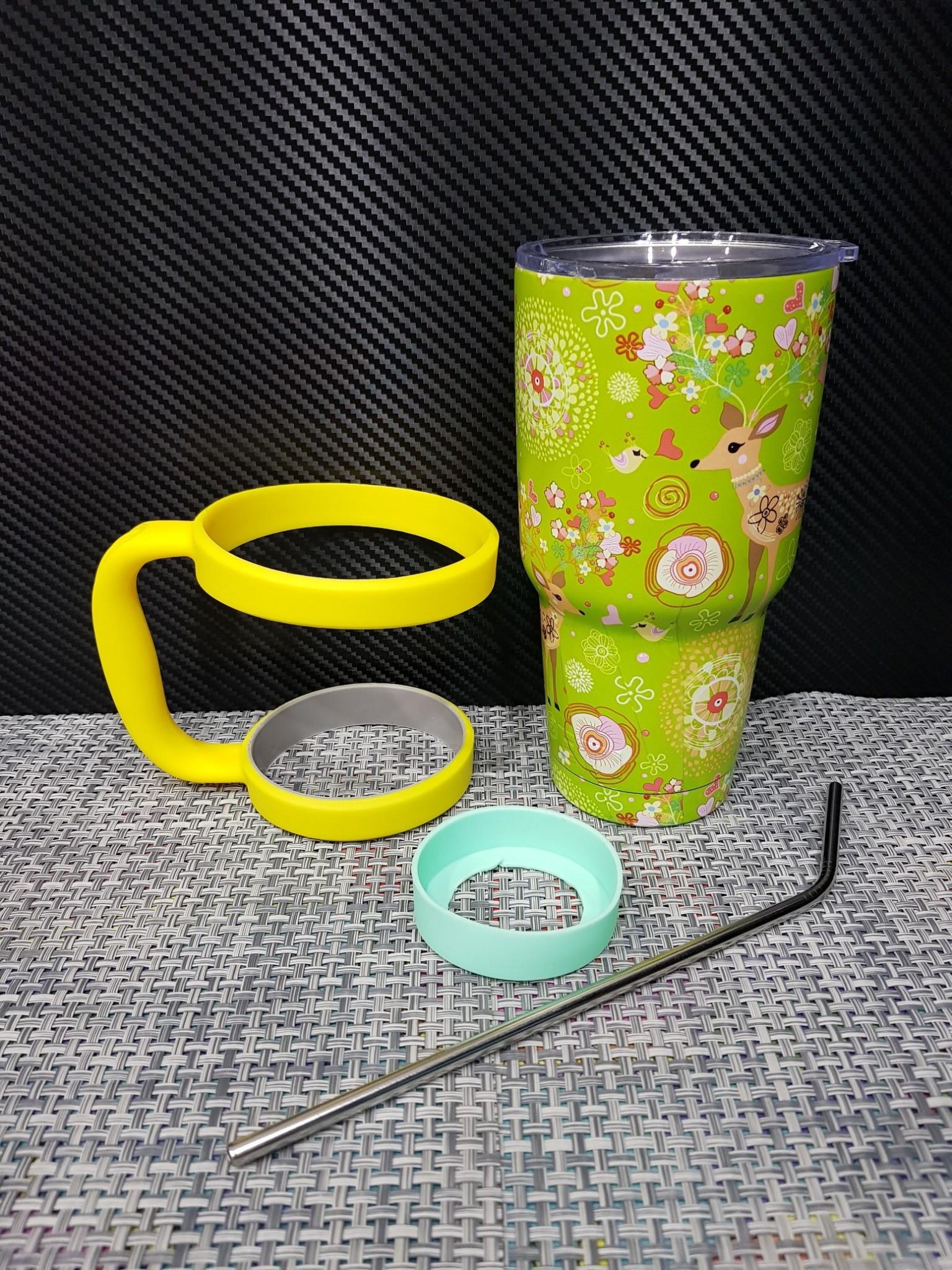 ชุดแก้วเยติ 30 ออนซ์ พื้นสีเขียว ลายการ์ตูน กวาง
