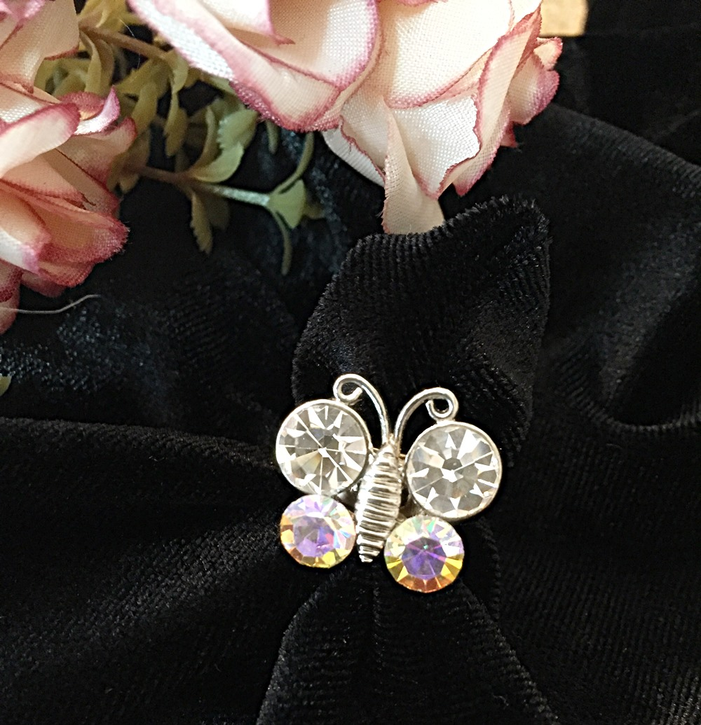 แหวนผีเสื้อประดับคริสตัล แหวนเกาหลี แหวนเงินเก๋ๆ ฟรีไซส์