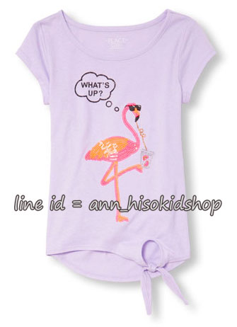 1877 The Children s Place Embellished Graphic Side-Tie Top - Purple ขนาด 7-8 ปี