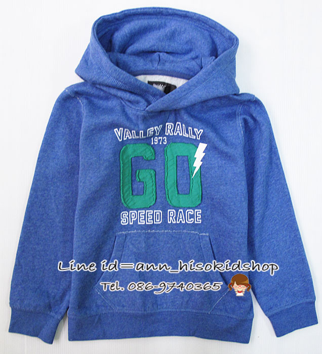 1164 H&M Boys Hooded Top with Printed Design - Blue ขนาด 4-6 ปี