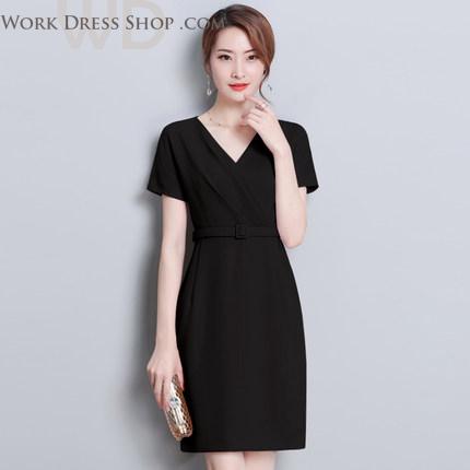 Pre-order ชุดทำงาน สีดำ คอวี จีบป้ายหน้าสวยหวาน แบบน่ารักเรียบร้อย