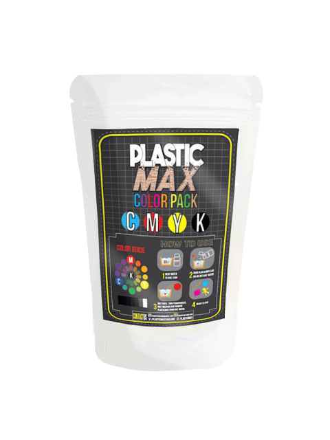เม็ดพลาสติกสี 4 สี สำหรับผสมสีกับพลาสติกปั้นได้ - PLASTIC MAX - 4 COLORS (CMYK) Moldable Plastic for DIY CRAFT ART