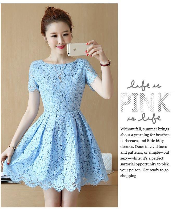 ชุดเดรสลูกไม้สีฟ้า แขนสั้น ชุดผ้าลูกไม้สั้นสวยๆ น่ารักๆ แฟชั่นเกาหลี