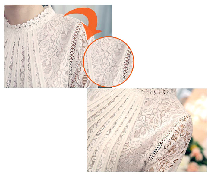 เสื้อลูกไม้เกาหลี เสื้อลายลูกไม้สีขาว แขนยาว ใสสบายๆ ใส่ได้หลายโอกาส