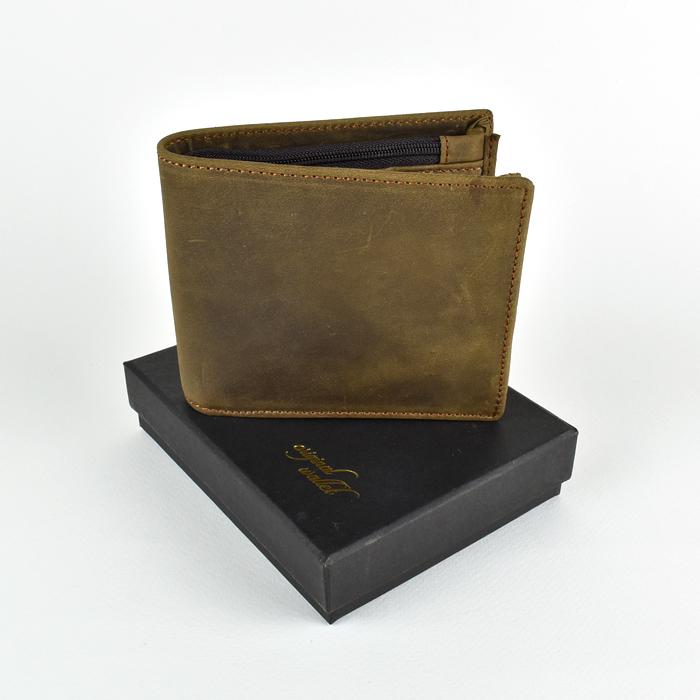 OW-856 ของขวัญวันเกิด กระเป๋าสตางค์ผู้ชาย หนังแท้ ใบสั้น สีน้ำตาลอ่อน