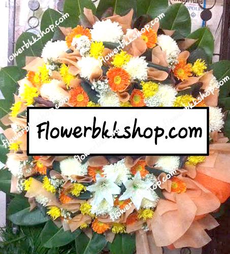 พวงหรีดดอกไม้สด รหัส WWR10