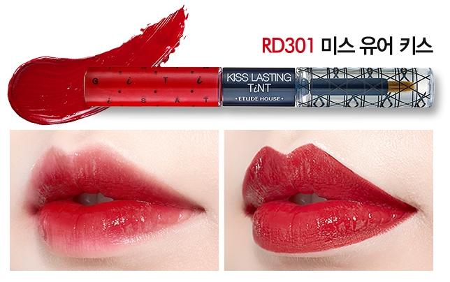 [PRE] Etude Kiss Lasting Tint 4g+4g #สี RD301 ลิปสติก สองหัว ที่รวมทั้ง ลิปกรอส และ tint สีสวย [Pre order]