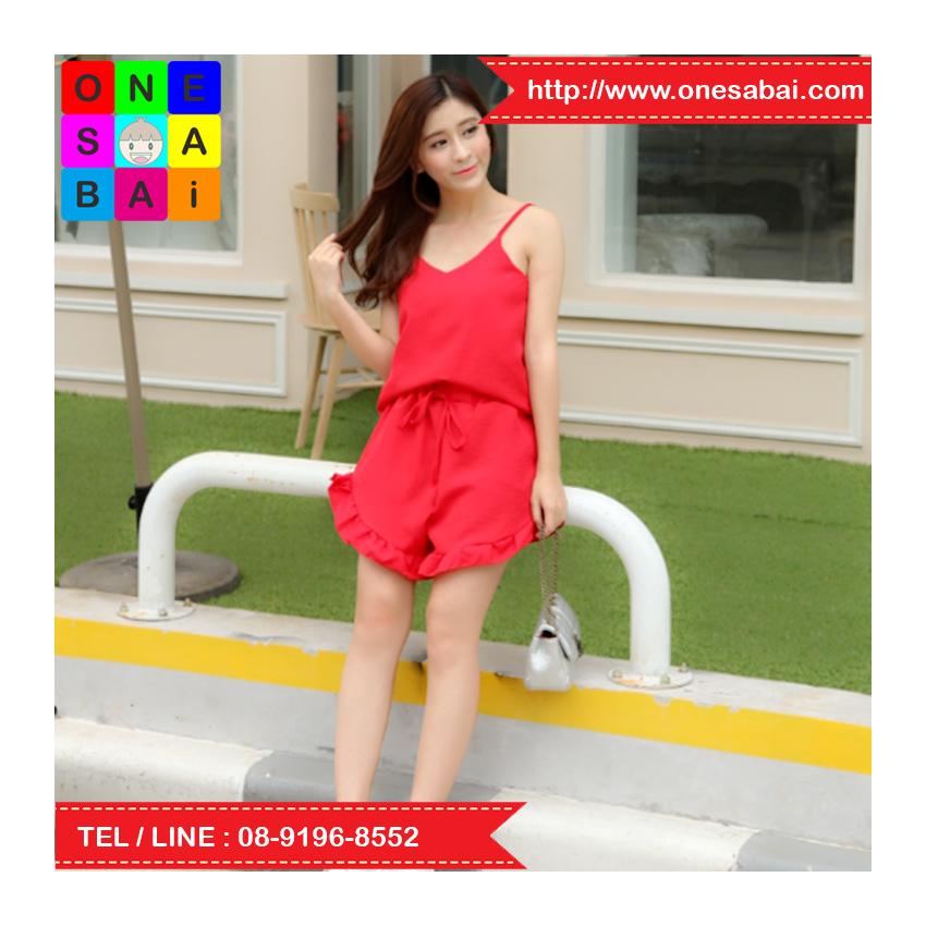 ชุด 2 ชิ้น เสื้อสายเดี่ยว + กางเกงขาสั้น ขาระบาย สีแดง