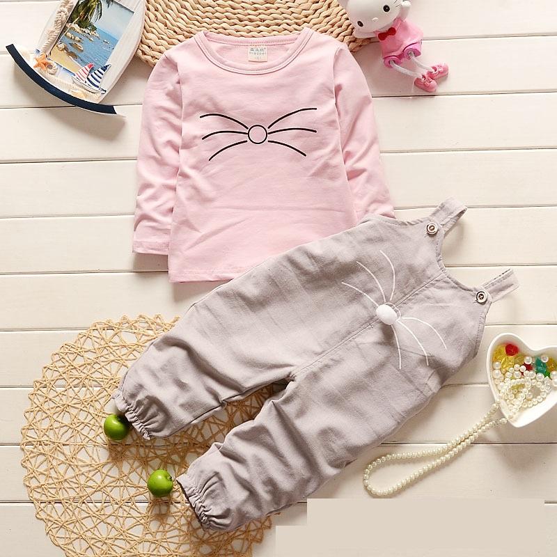 ชุดเซตเสื้อแขนยาวสีชมพู+เอี๊ยมหนูสีเทา [size 2y]
