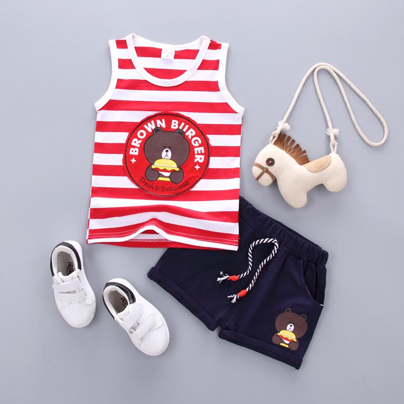 ชุดเซตเสื้อกล้ามน้องหมีลายขวางสีแดง แพ็ค 3 ชุด [size 6m-1y-2y]