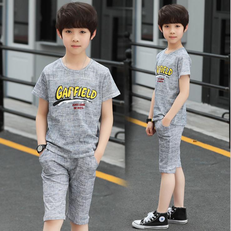 เสื้อ+กางเกง สีเทา แพ็ค 5 ชุด ไซส์ 130-140-150-160-170 (เลือกไซส์ได้)