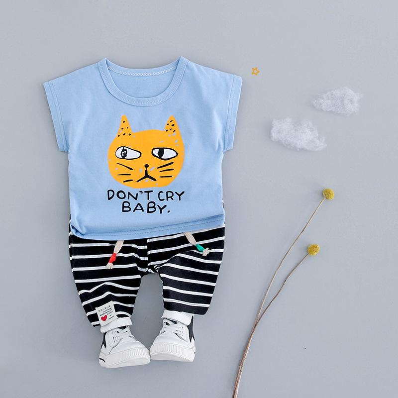 ชุดเซตเสื้อสีฟ้าลายแมว+กางเกงลายขวางสีดำ แพ็ค 4 ชุด [size 6m-1y-2y-3y]