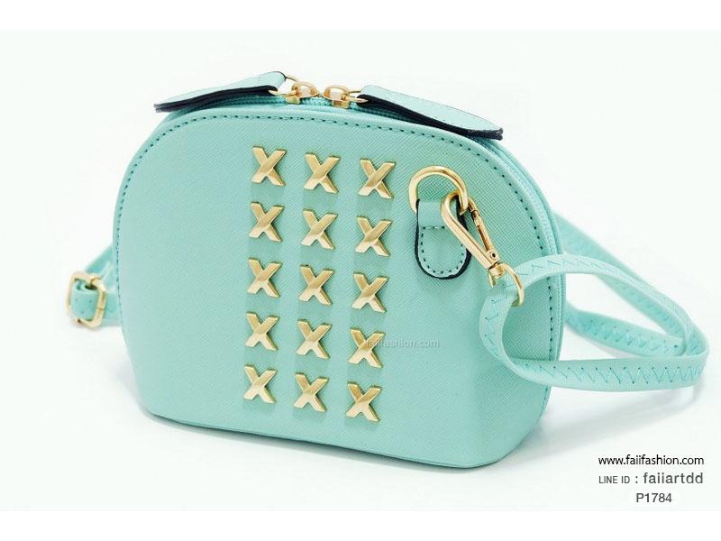 กระเป๋าสะพายทรงโค้ง ไซส์มินิน่ารัก สไตล์เกาหลี แต่งอะไหล่สีทอง