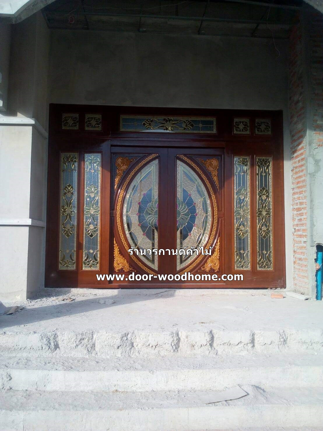 ประตูไม้สักกระจกนิรภัยแกะมังกรหงส์ ชุด7ชิ้น รหัส AAA132
